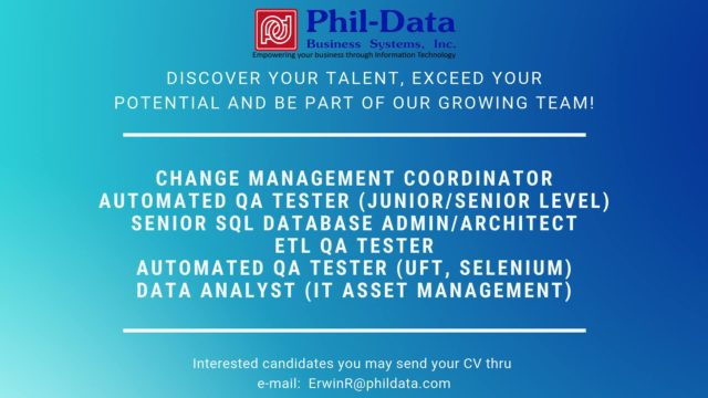 Phil-Data Business Systems, Inc  IT Jobs