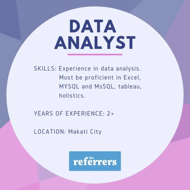 Data Analyst | Makati | Salary 80k Php