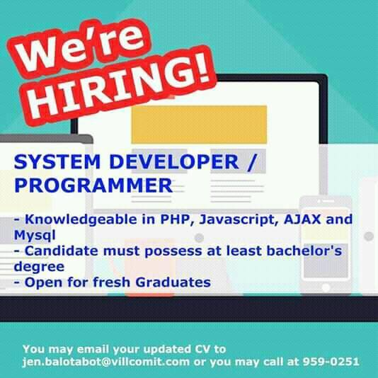 System Developer/Programmer | Quezon City | Urgent Hiring