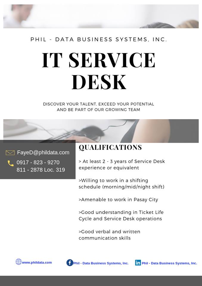 IT SERVICE DESK ENGINEER (local)